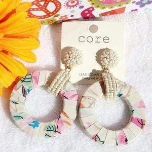 Boho Seed Bead Wrapped Hoop Dangle Post Earrings